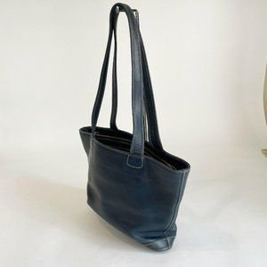 Coach Navy Leather Tote Purse Handbag Shoulder